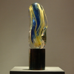 Monumental Murano Abstract Sculpture in Polychrome Sommerso Glass