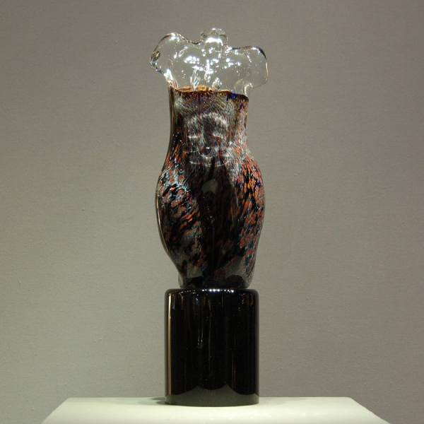 Unusual Male Nude Torso in Colored Metal Oxides and Clear Crystal