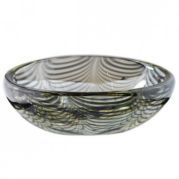 Very Large and Heavy Bowl with Black Swirl Canes