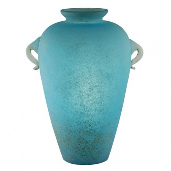 Large Murano Scavo Technique Vase in Turquoise Glass