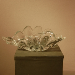 Very Large Clear Crystal Shell Bowl