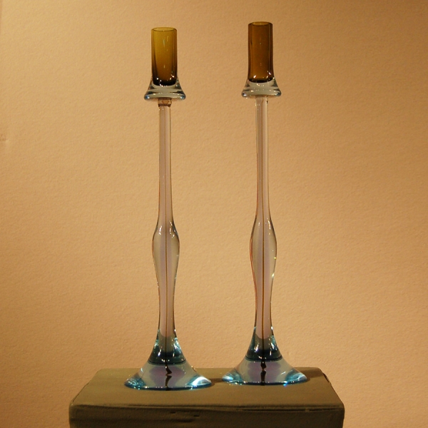 Pair of Sommerso Glass Candlesticks